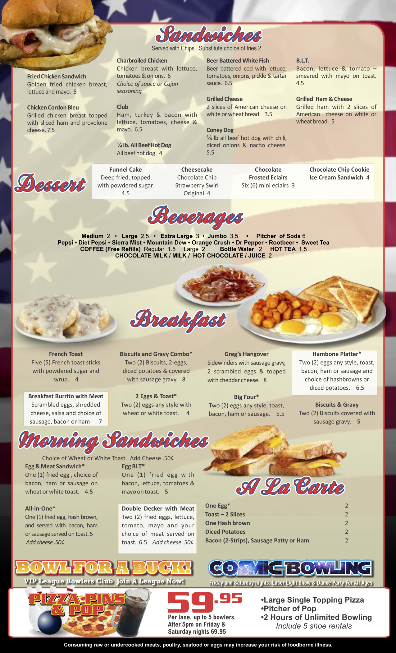 Come Enjoy our Enhanced Menu  It's not your normal bowling alley food!